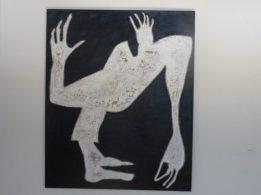 figuur in zwart-witte was met ecoline naar collagetechniek. Wandobject. 120x120