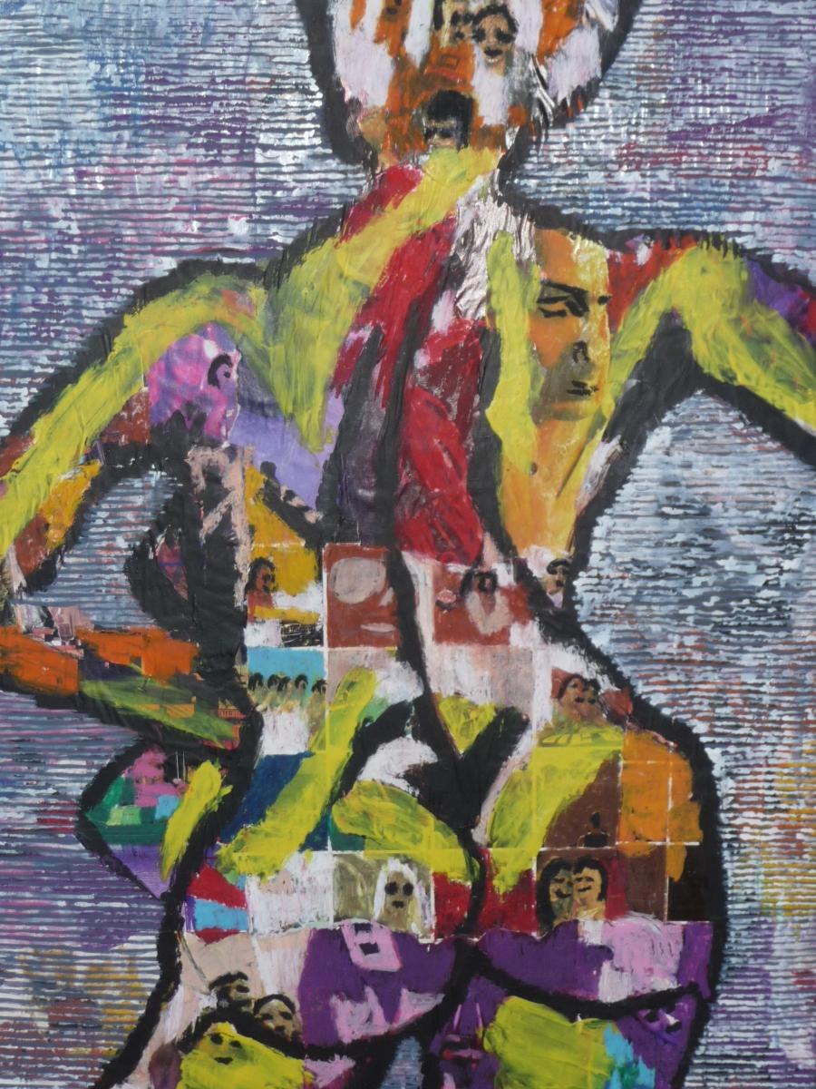 collage, waskrijt, acrylverf, ecoline
