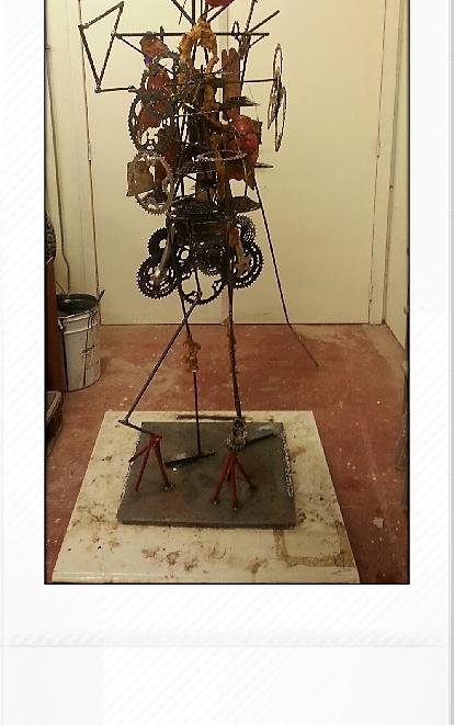 assemblage fietsonderdelen keramiek staaldraad