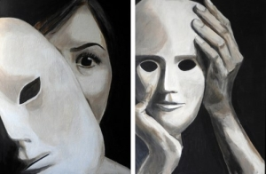 Een masker afzetten. Een masker opzetten. Thea van Moorsel.